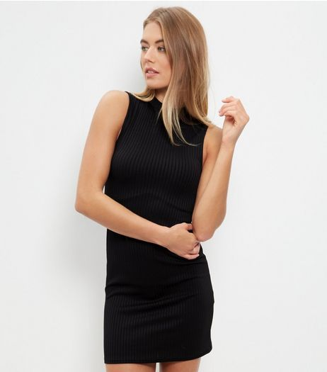 Black Ribbed Funnel Neck Sleeveless Mini Dress  | New Look