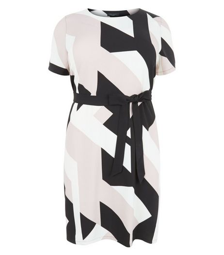 Curves Pink Geo Print Belted Tunic Dress  | New Look