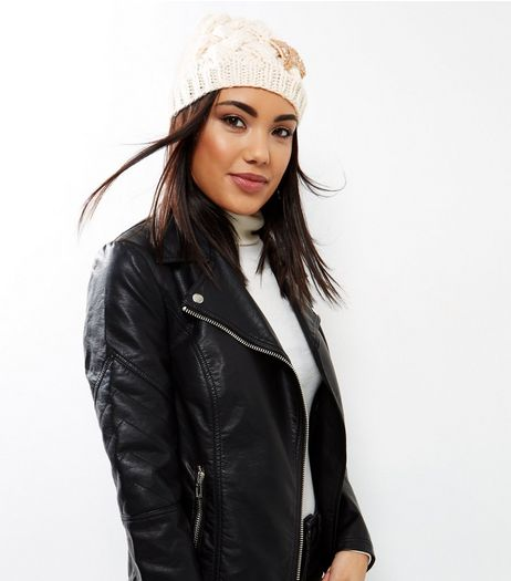 Cream Embellished Bow Beanie  | New Look