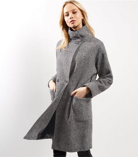 Black Textured Cocoon Longline Coat  | New Look