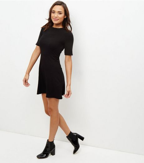 Black Ribbed Skater Dress  | New Look