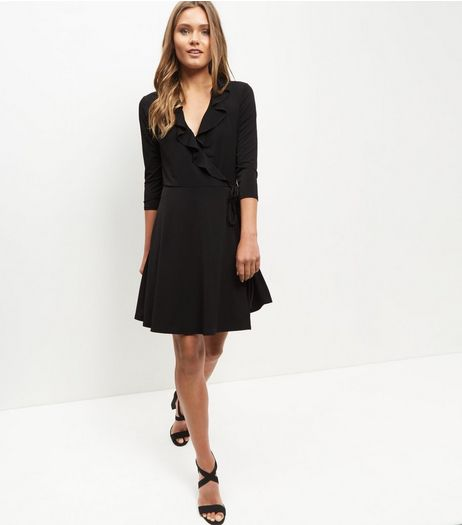 Black Ruffle Trim Wrap Front Dress  | New Look