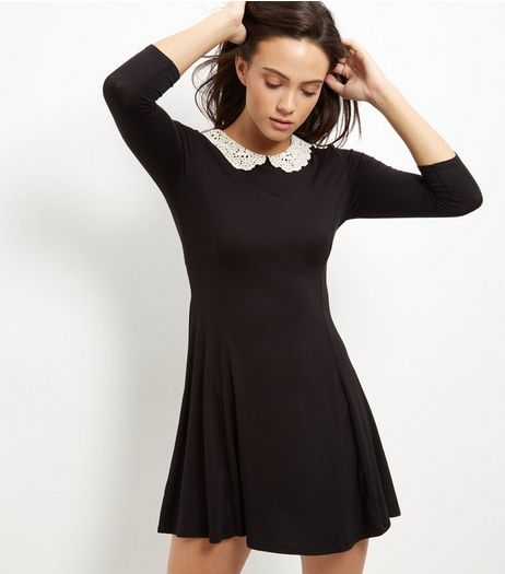Black Crochet Collar Skater Dress | New Look
