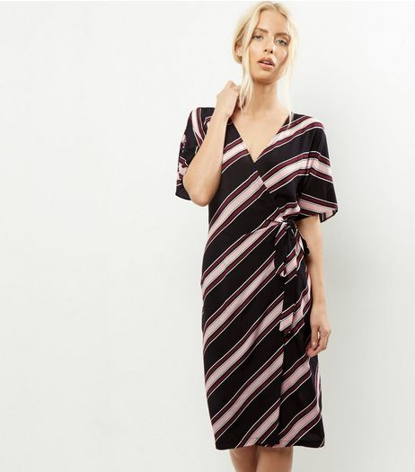 Black Stripe Cold Shoulder Wrap Front Midi Dress  | New Look