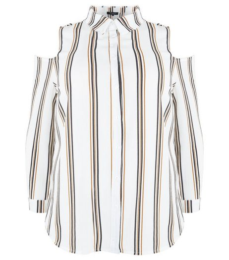 Curves White Stripe Print Cold Shoulder Shirt | New Look