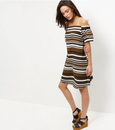 Green Stripe Bardot Neck Dress  | New Look