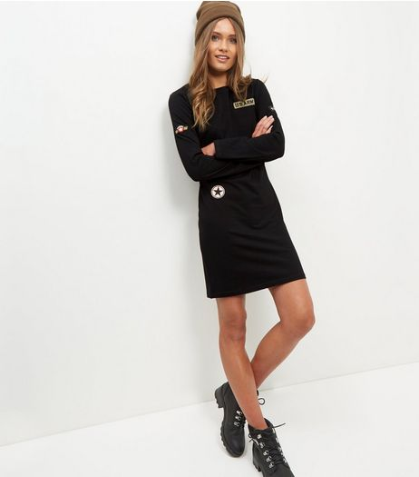 Black Badge Embroidered Long Sleeve Dress  | New Look
