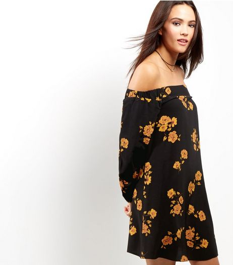 Black Floral Print Bardot Dress | New Look