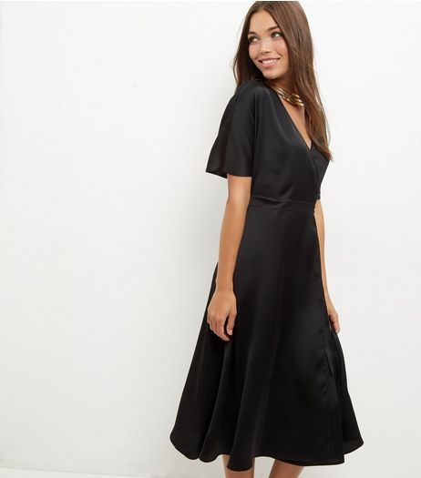 Black Sateen Wrap Midi Dress | New Look