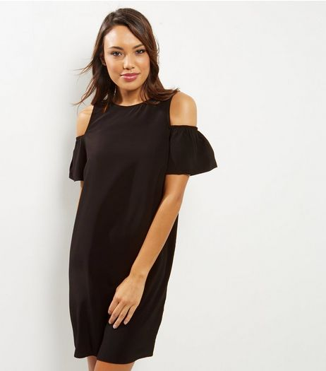 Black Frill Trim Cold Shoulder Tunic Dress | New Look