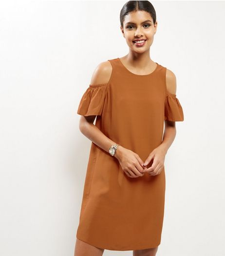 Brown Frill Trim Cold Soulder Tunic Dress | New Look