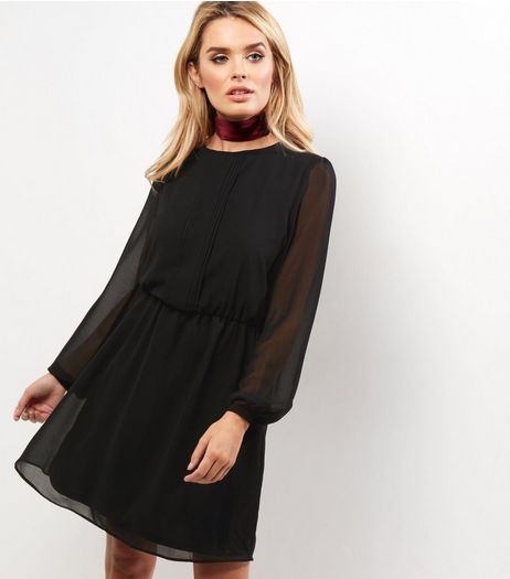 Black Pintuck Long Sleeve Chiffon Mini Dress | New Look
