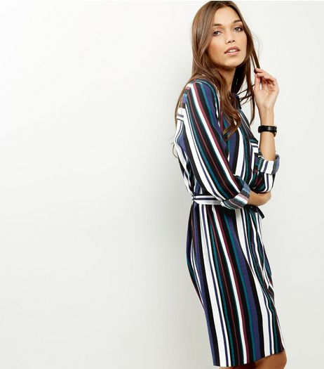 Blue Stripe Tie Waist Shirt Dress | New Look