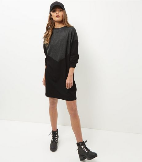 Black Chevron Colour Block Jumper Dress  | New Look