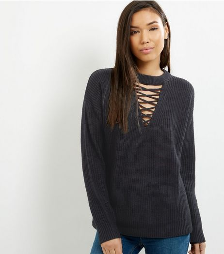 Black Chunky Lattice Front Long Sleeve Jumper  | New Look