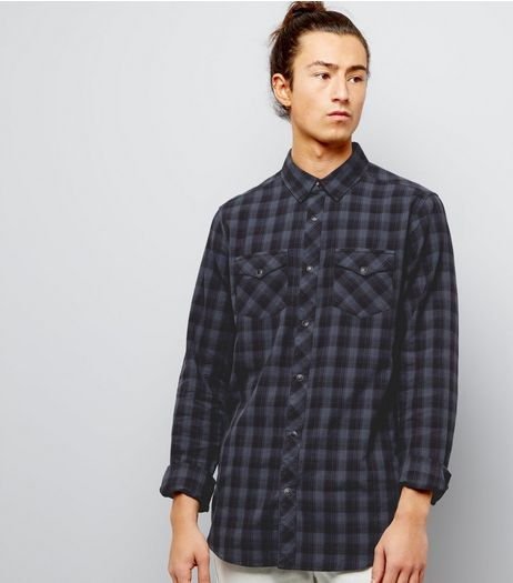 Black Cotton Check Long Sleeve Shirt  | New Look