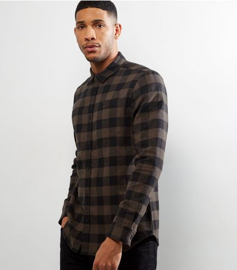 Dark Grey Check Long Sleeve Shirt | New Look