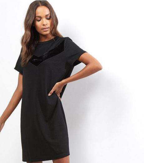 Black Velvet Chevron Stripe Tunic Dress | New Look