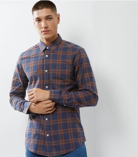 Navy Check Single Pocket Shirt | New Look