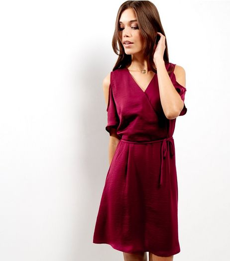 Burgundy Sateen Cold Shoulder Wrap Front Dress | New Look