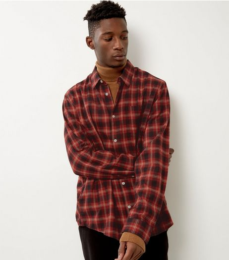 Red Brushed Check Single Pocket Long Sleeve Shirt | New Look