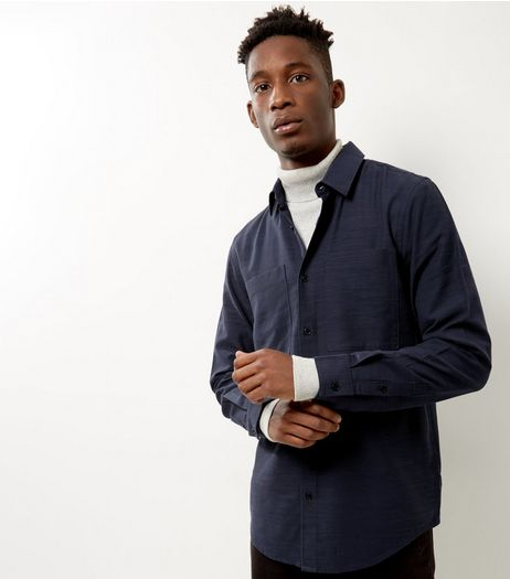 Navy Textured Long Sleeve Shirt | New Look