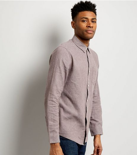 Dark Grey Linen Mix Long Sleeve Shirt | New Look