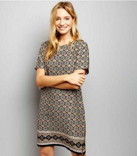 Black Diamond Pattern Tunic | New Look
