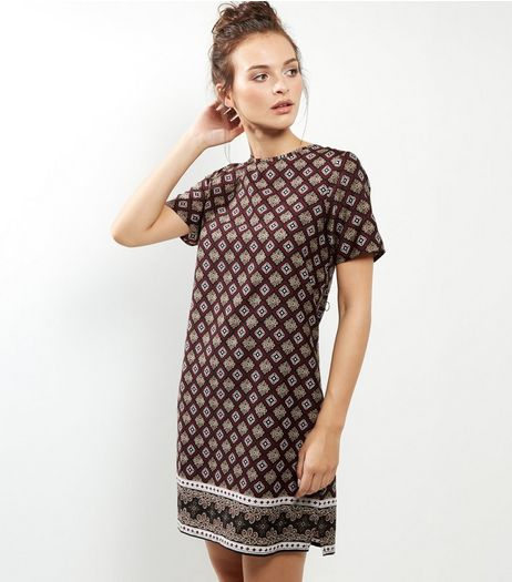 Black Tile Print Tunic Dress | New Look