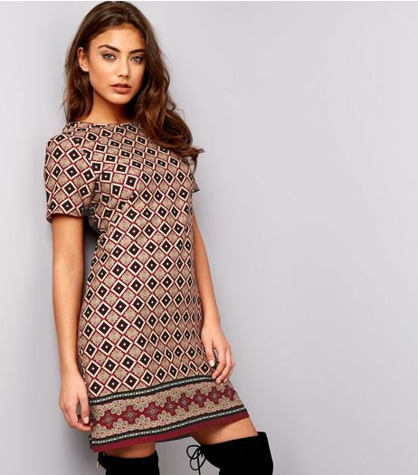 Burgundy Diamond Pattern Tunic | New Look