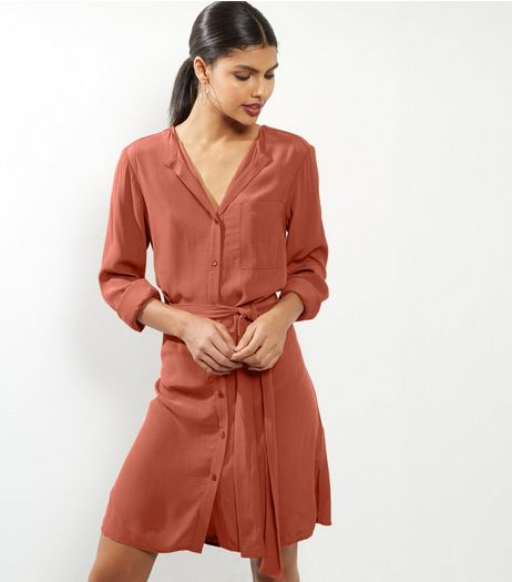 Brown Long SLeeve Belted Shirt Dress | New Look