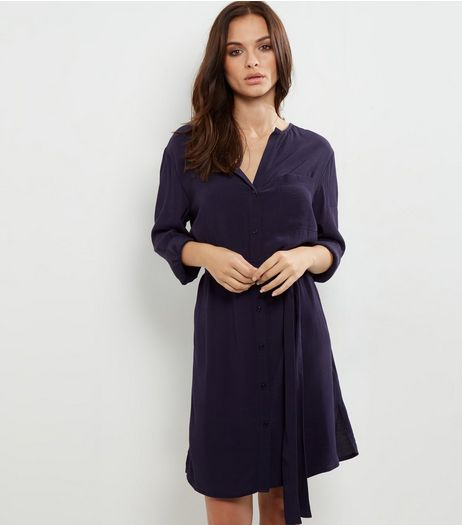 Navy Long Sleeve Belted Shirt Dress | New Look