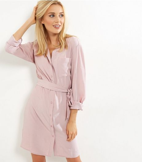 Pink Long Sleeve Belted Shirt Dress | New Look