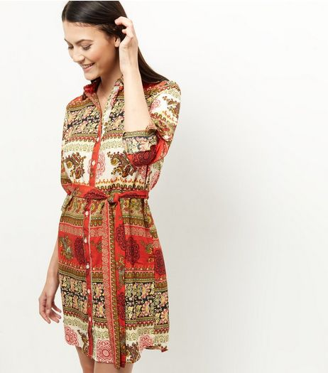 AX Paris Red Paisley Print Shirt Dress | New Look