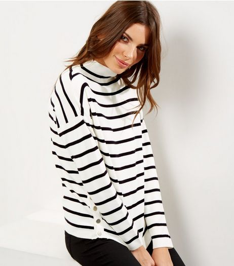 Whtie Stripe Popper Side Funnel Neck Jumper  | New Look
