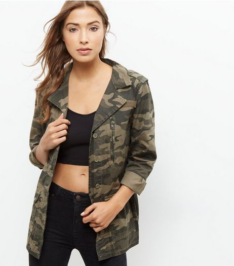 Parisian Green Camo Print Double Zip Shacket | New Look