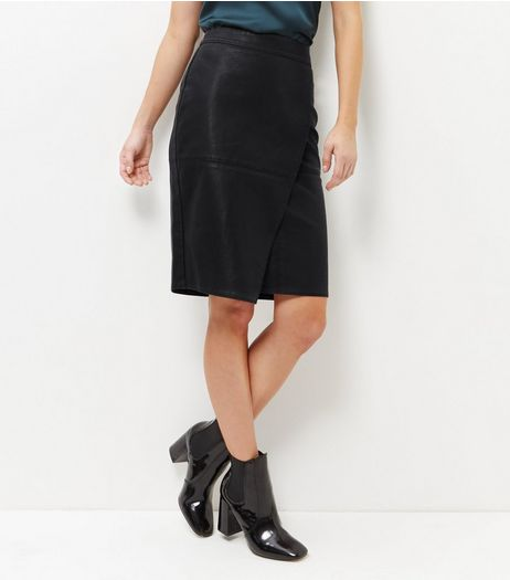Black Leather-Look Wrap Front Midi Skirt  | New Look