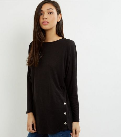 Black Batwing Sleeve Stud Side Top  | New Look
