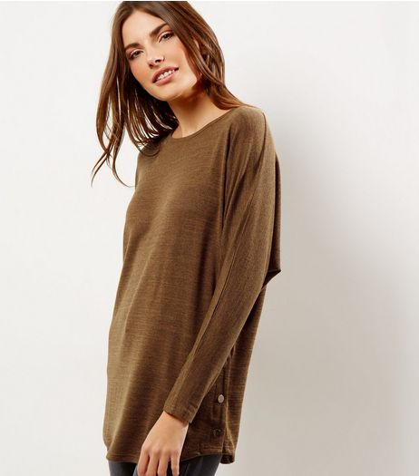 Mustard Yellow Batwing Sleeve Stud Side Top | New Look