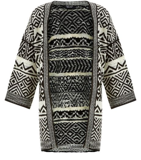 Teens White Knitted Aztec Kimono | New Look