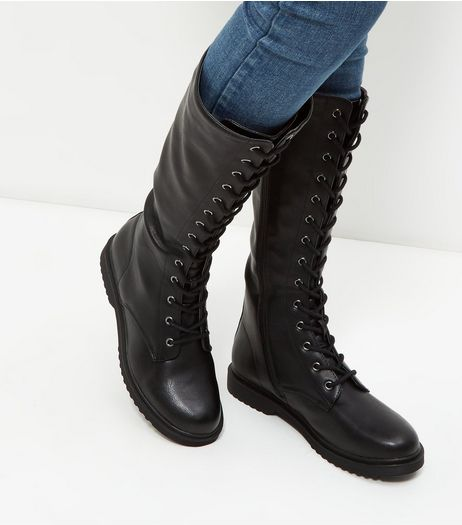Black Knee High Lace Up Boots | New Look