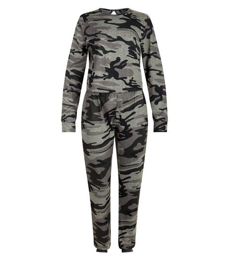 Teens Green Camo Print Long Sleeve Jumpsuit | New Look