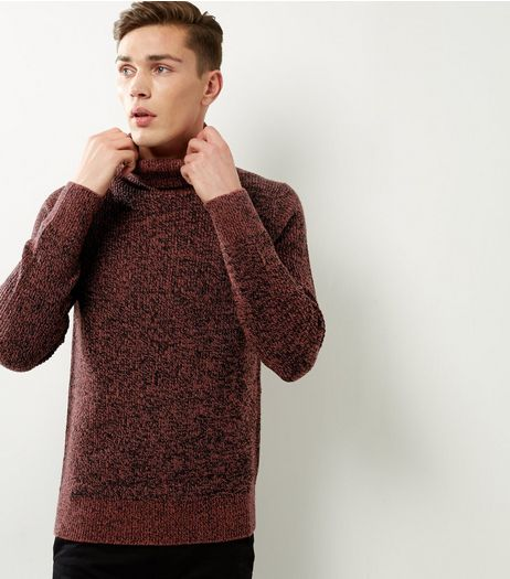 Rust Speckled Ribbed Funnel Neck Jumper | New Look