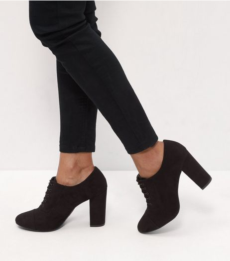 Black Suedette Lace Up Block Heel Boots | New Look