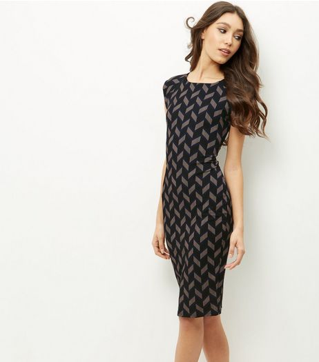 AX Paris Navy Abstract Print Bodycon Dress | New Look
