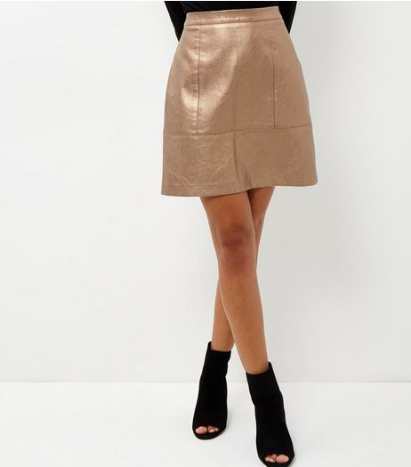 Bronze Leather-Look Metallic Mini Skirt  | New Look
