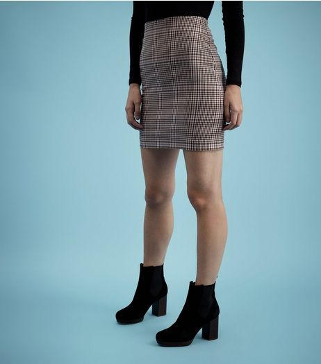 Brown Check A-Line Skirt  | New Look