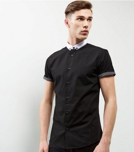 Black Button Collar Short Sleeve Shirt | New Look