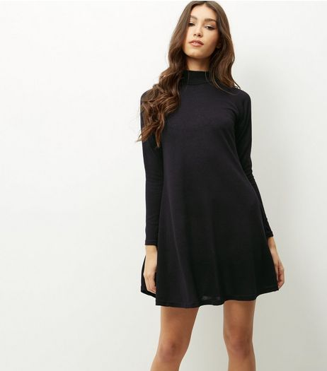 AX Paris Black Long Sleeve Funnel Neck Swing Dress | New Look