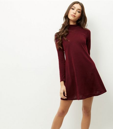 AX Paris Dark Red Long Sleeve Funnel Neck Swing Dress | New Look